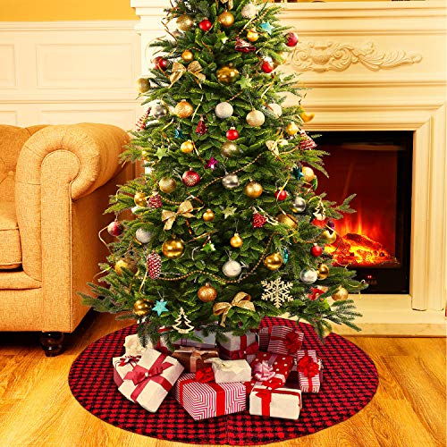 Boao 36 Inch Plaid Christmas Tree Skirt with Red and Black Buffalo Check Tree Skirt Ornament Double Layers for Christmas Holiday Decoration