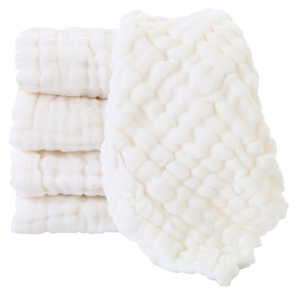 Baby Muslin Washcloths - Natural Muslin Cotton Baby Wipes - Soft Newborn Baby White Towel and Muslin Washcloth for Kids- Baby Registry as Shower Gift, 5 Pack 10x10 inches by MUKIN W5-170400