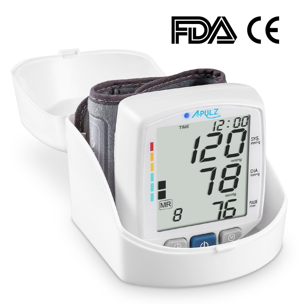 Wrist Blood Pressure Monitor, APULZ Automatic BP Cuff Machine with Position Detection, Adjustable Cuff, 240 Memory Sets and Portable Case for Home Use