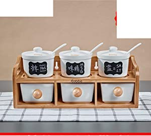 MUMUMI Storage Containers,Spice Storage Containers Spice Jar Set Ceramic Spice Jars with Lid Porcelain Condiment Jar,B