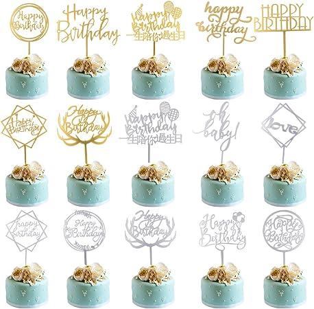 Whaline Acryl Happy Birthday Cake Topper Set Gold Tortenstecker Geburtstag 4 St/ück Glitter Topper Kuchendekoration