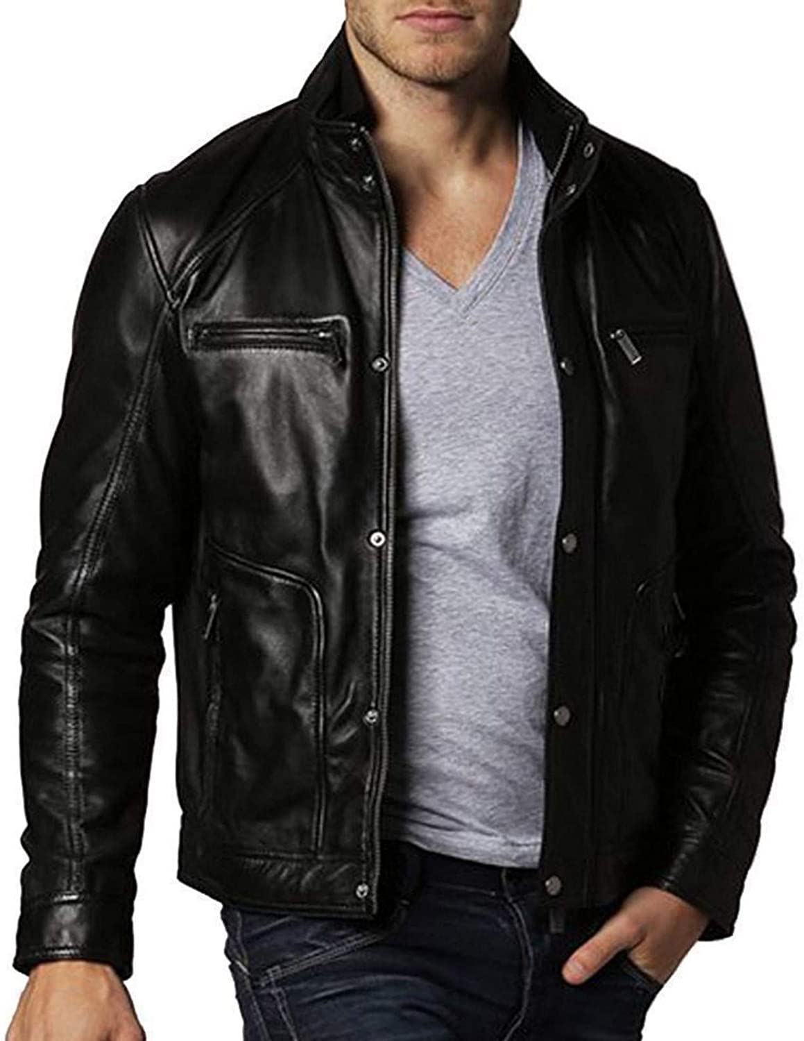 brandMe Mens Genuine Leather Pure Lambskin Biker Jacket MM404