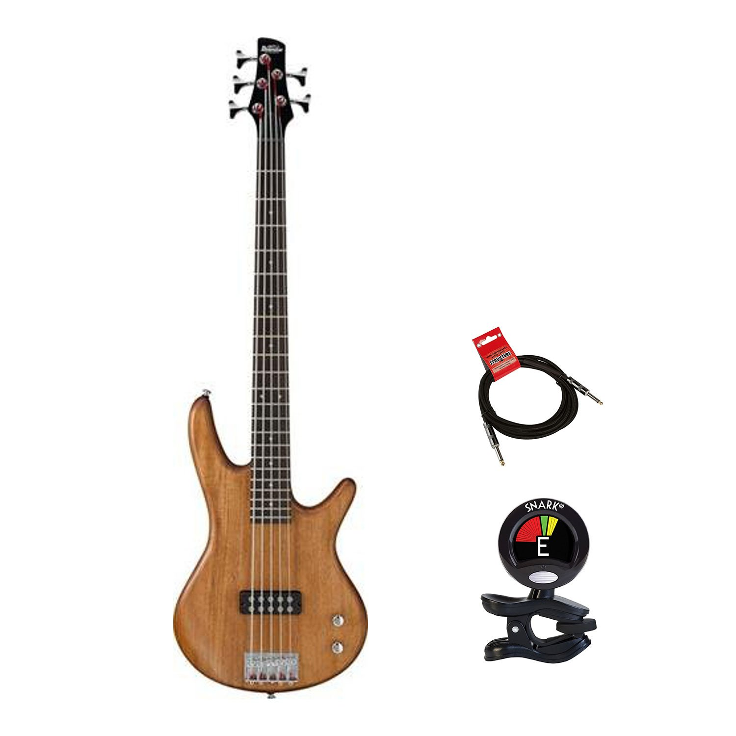 Ibanez GSR105EX 5 String Electric Bass Guitar KIT in Natural Mahogany Oil Finish With Clip On Guitar Tuner and Guitars Cable