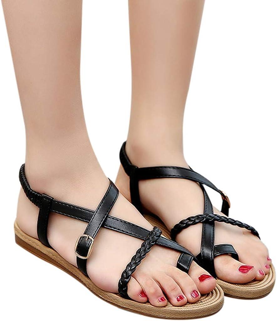 Ankle Strap Faux Leather Solid Summer Casual Thongs Velcro FILP-Flop Sandals Womens Flat Sandals Roman Clip Toe Shoes
