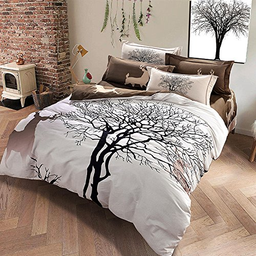 TheFit Paisley Textile Bedding for Adult U1204 Brown Deer and Tree Duvet Cover Set 100% Sanding Cotton, Queen King Set, 4 Pieces (King)