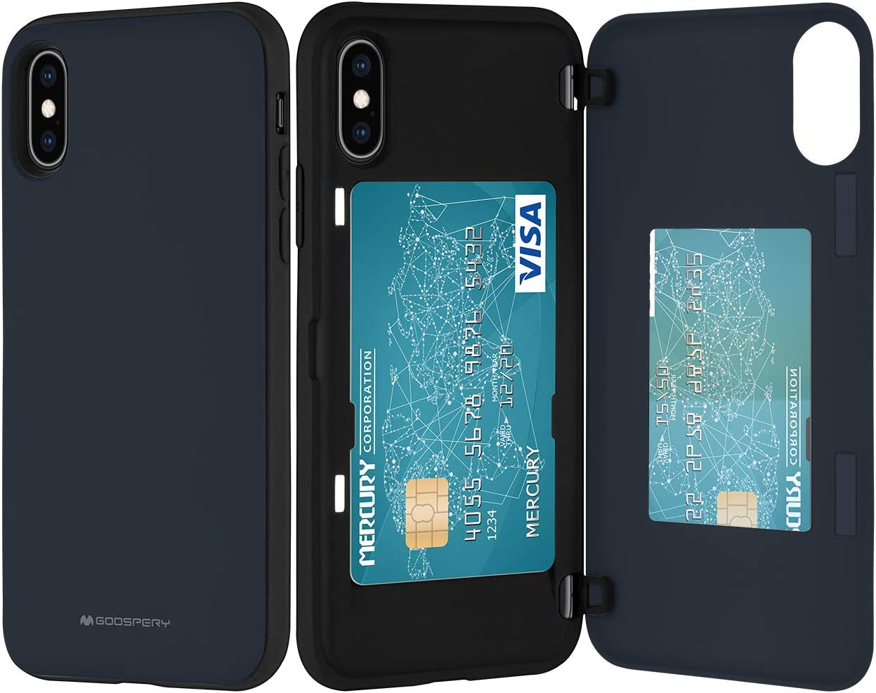 Goospery iPhone Xs Case, iPhone X Wallet Case with Card Holder, Protective Dual Layer Bumper Phone Case (Midnight Blue) IPX-MDB-NVY