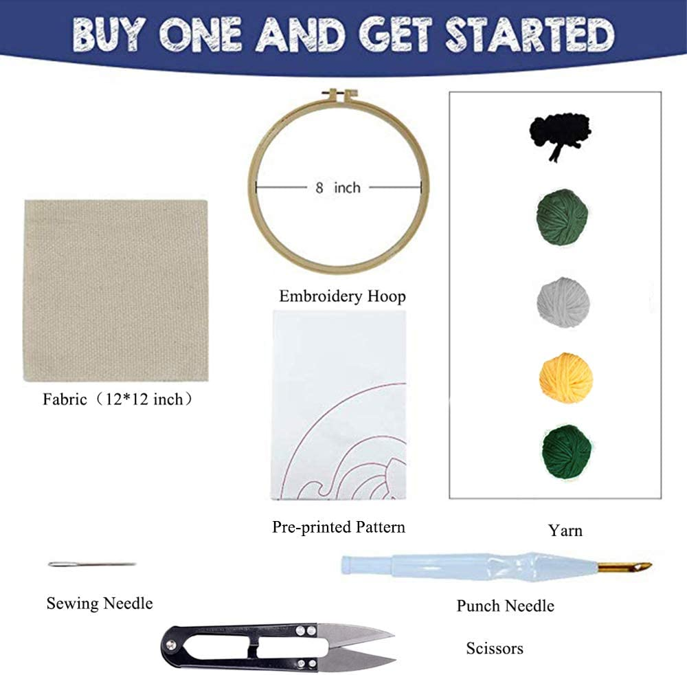 Embroidery Pen and Hoop Stosts Unicorn Punch Needle Embroidery Kit Beginner Hook Kits with Display Stand Rug-Punch Hooking Knitting Kit for Valentines Day Gift
