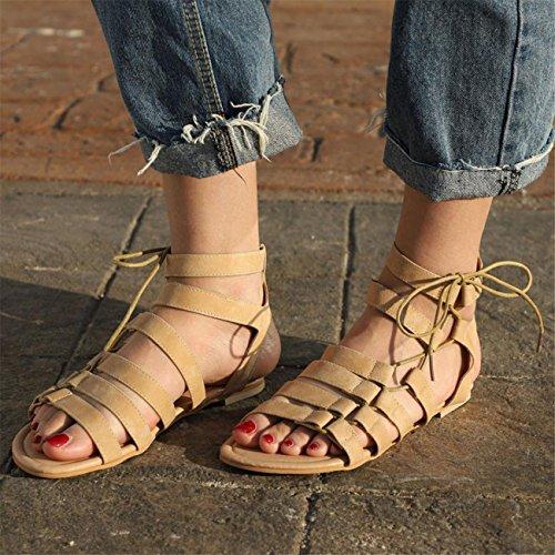 HCFKJ Sandales Femmes, Femmes Bohême Sandales à Talon Plate Femmes Printemps Été Tongs Femmes Chaussures de Plage Ballerine Escarpin Beige