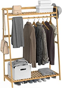 GHWIE Clothes Hanging Rack with 2 Tier Storage Shelves and 2 Coat Hooks Laundry Rack Cloest Organizer Garment Rack for Clothes, Shirts, Bags, Scarves, Pants, Shoes, Storage Boxes