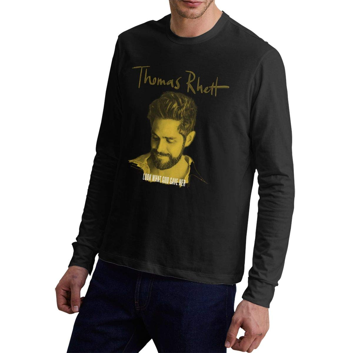 Man Long-sleeve Shirt Thomas Rhett Art Graphics Funny Tops Black