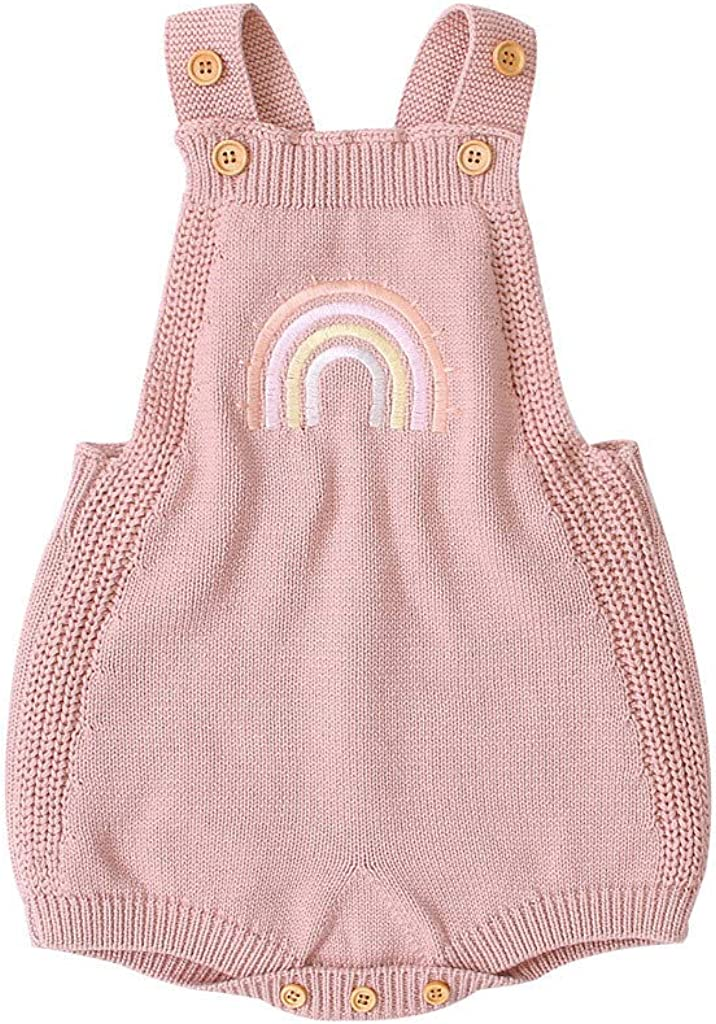 Lanhui Infant Baby Girls Boys Sleeveless Rainbow Strap Knitted Jumpsuit Triangle Suspenders Romper Overalls Outfits