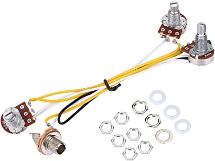 wiring control for guitars amazon com guitar wiring hareness 500k pots control knobs wiring  guitar wiring hareness 500k pots