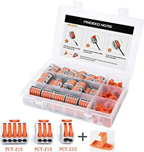 60 Pcs Wire Connector - 2/3/5 Port Cable Wiring Terminal Block Kit with Fixed Bracket & Screws I Assortment Splicing Conductors for Solid Stranded Flexible Wires