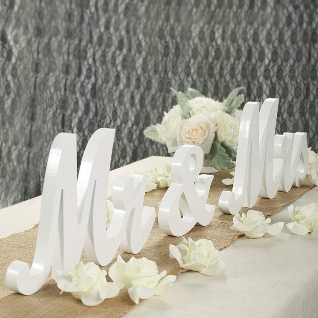 wantmaz White Mr and Mrs Signs Wedding Table Decorations, Wooden Freestanding Letters for Photo Props, Rustic Wedding Decoration, Anniversary Wedding Shower Gift