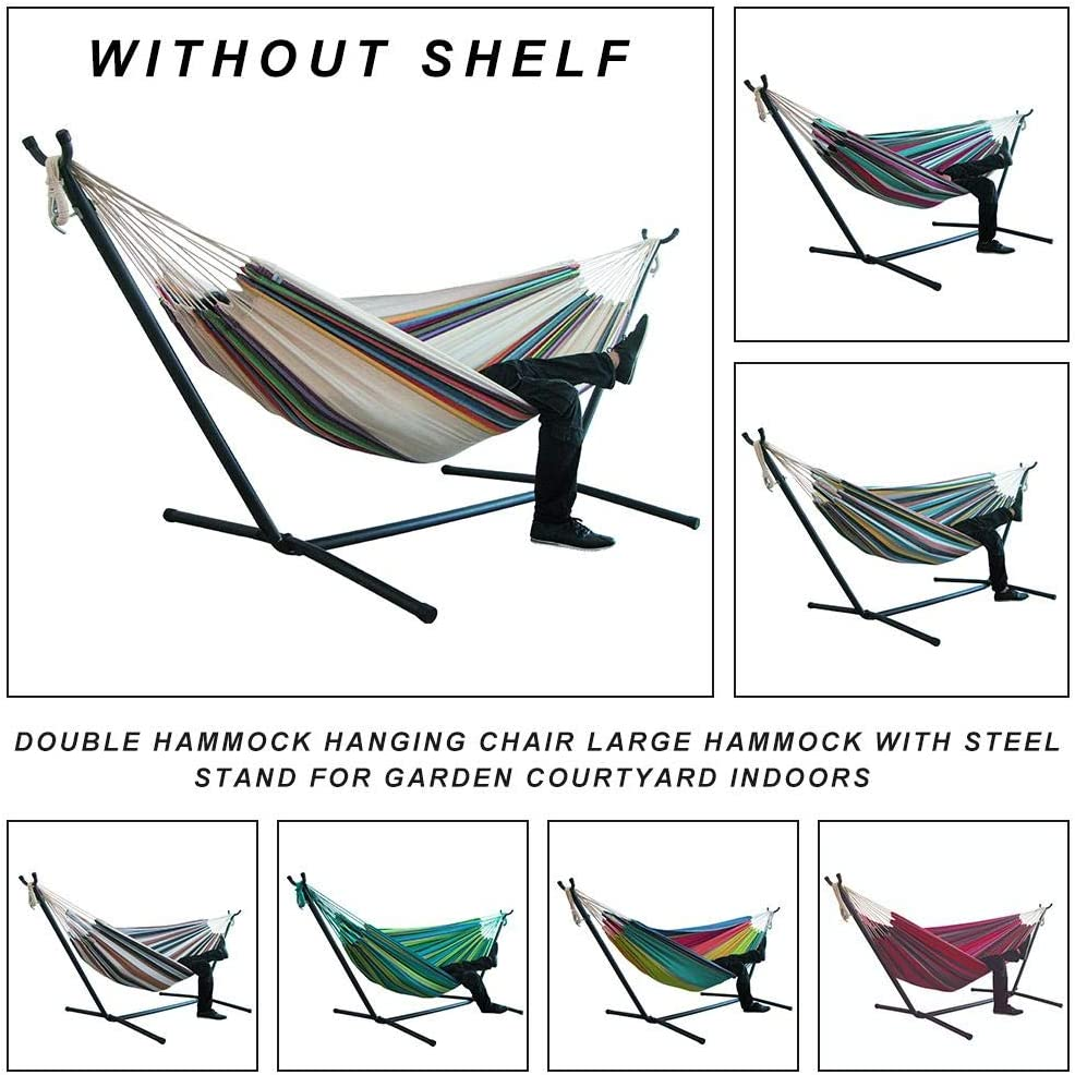 Double Cotton Hammock 1-2 Peoples Hammock Camping with Tree Straps,Hammocks Widened Hanging Chair for Kids Adults,Outdoor,Garden,Backyard,4.92 Feet Without Bracket with 2 X Hanging Straps