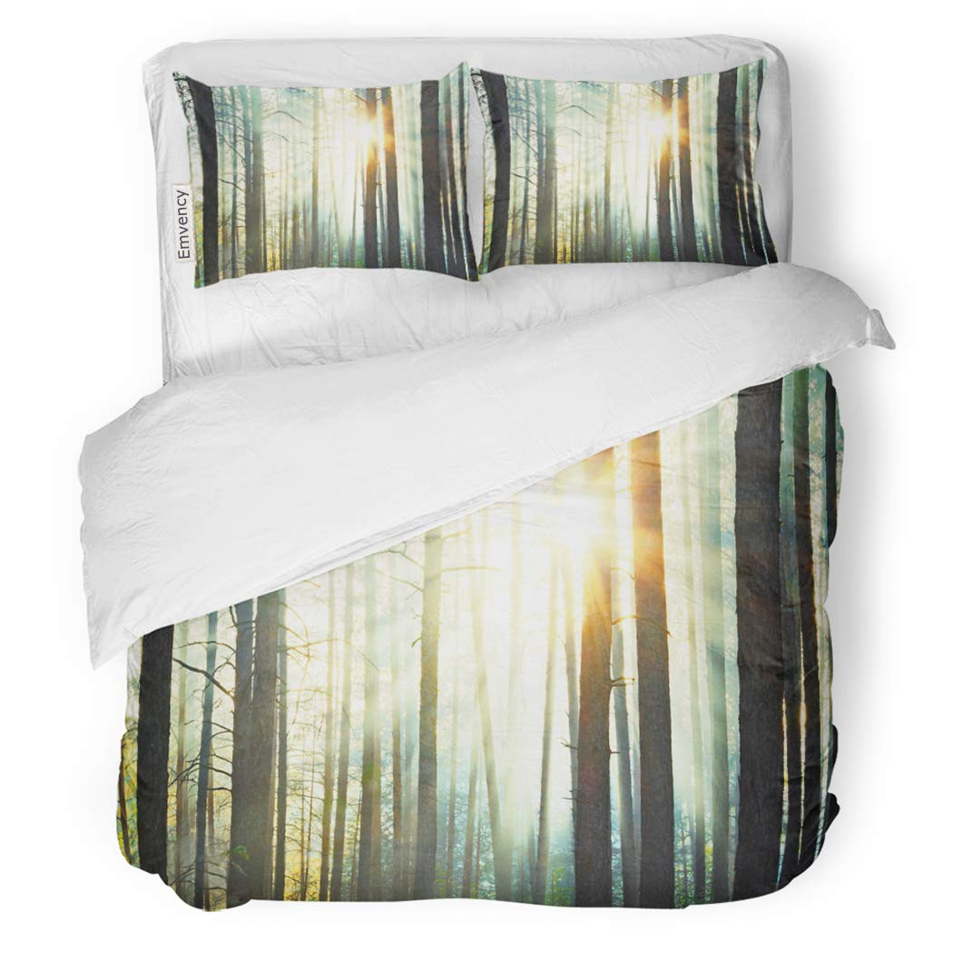 SanChic Duvet Cover Set Green Forest Sunset in The Woods Light Nature Decorative Bedding Set with 2 Pillow Shams King Size