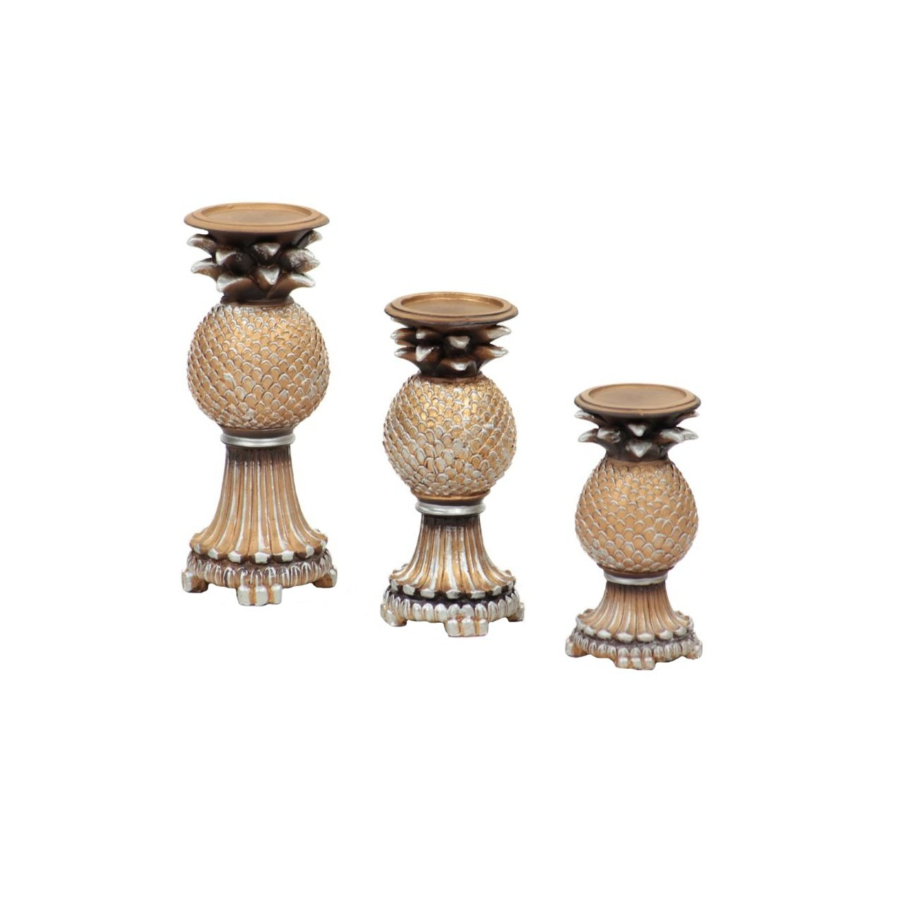 f7d52293c0 Amazon.com: Essentials Décor Entrada Collection Gold 3-Piece Set Polyresin  Candle Holder: Home & Kitchen
