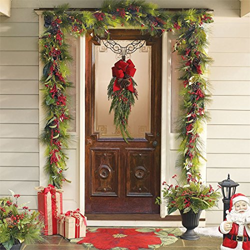 Outdoor Lighted Christmas Swag And Bow in US - 3
