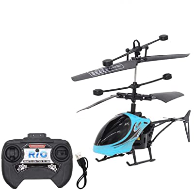 Hemlock RC Helicopter, Remote Control Helicopter KidsToy 2CH Gyro Helicopter RC Drone Children Boys Toys Gifts (Blue): Kitchen & Dining