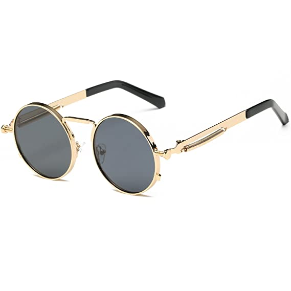 Cvoo High Quality Retro Women Round Sunglasses Steam Punk Metal Frame Vintage Round Sun Glasses Male Female Mirror Uv400 4S9AeX0yZO
