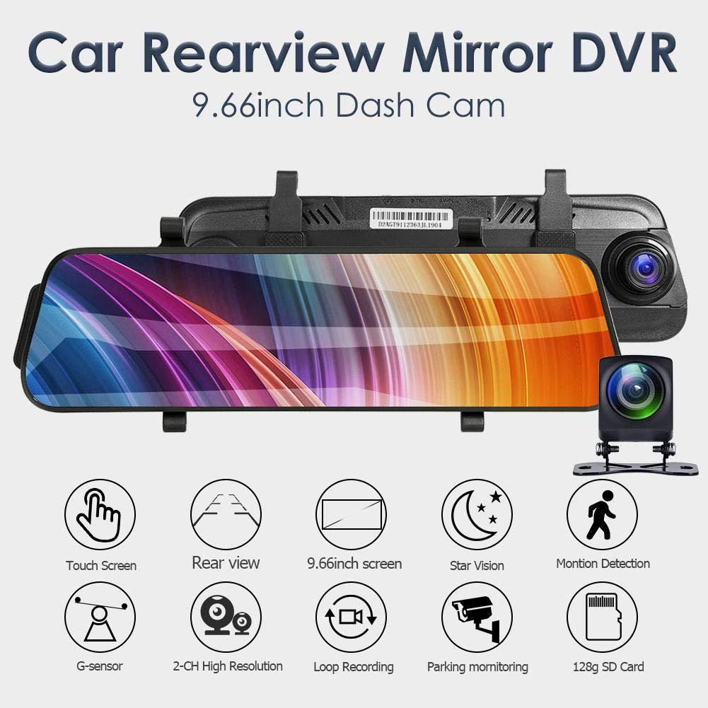 L9602 Dash CAM C/ámara de 9.66 Pulgadas Espejo retrovisor DVR C/ámara Grabador de Doble Lente