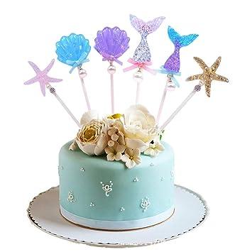 Amycute 6 Piezas Decoracion Cake cumpleaños Topper de Sirena ...