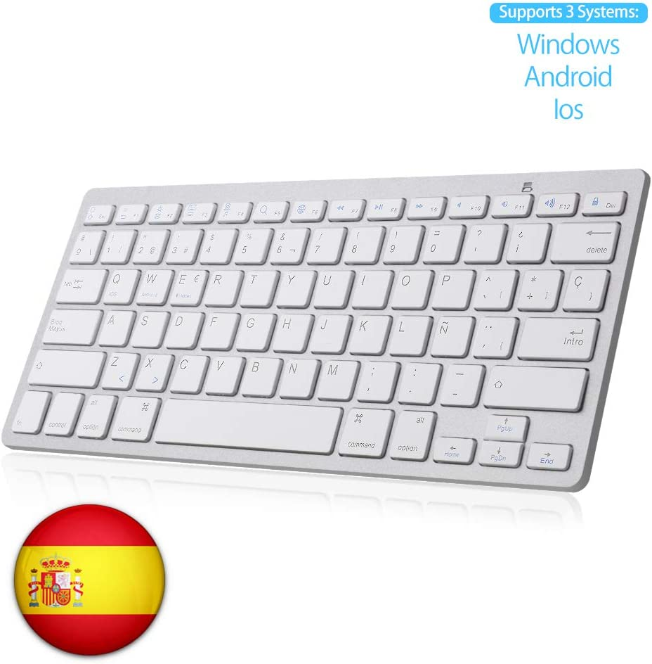 SENGBIRCH Teclado Bluetooth Español, Light Teclado Inalámbrico Portátil para iPhone de iOS, iPad, Samsung, Huawei, Android, Windows y Cualquier Dispositivo con Bluetooth, Teclado Bluetooth (Blanco)