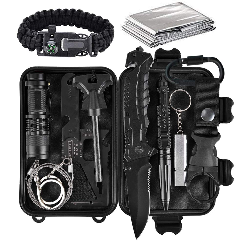 bb2217405fa7 lanqi 13 Pieces Survival kit, Professional Emergency Camping Gear for Car,  Camping, Hiking, Climbing -Father's Day Birthday Gift for Him Men Dad ...