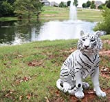 Atlantic Large 20″ Tall Sitting On Guard Siberian White Tiger Decorative Resin Statue