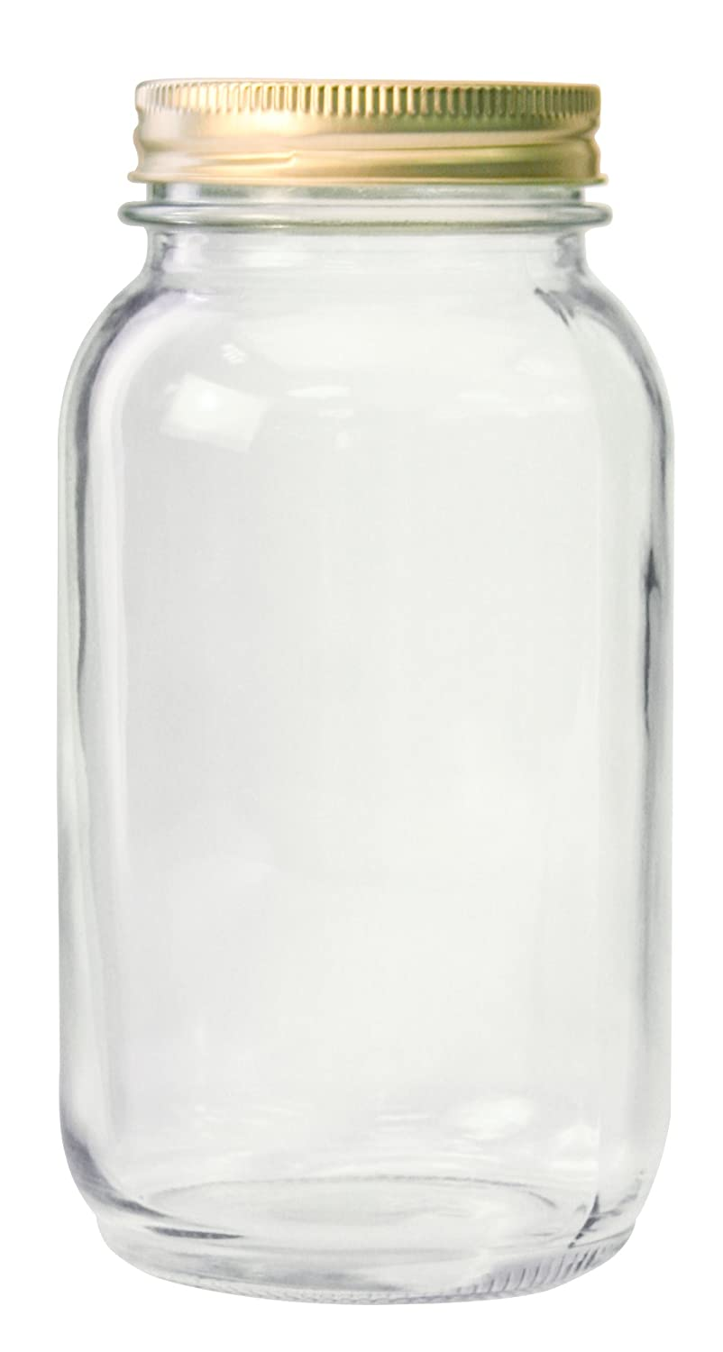 Anchor Hocking 10986 10986AHG17 1 Quart Home Canning Jar with Metal lids and Rings, Clear