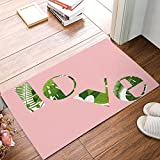 ZOE GARDEN Personalized Welcome Door Mats Inside Non Slip Washable, Pink Background Love Font Green Flowers Illustration Decor House Apartment Office Front Door Rugs Doormats, 23.6x15.7 Inches