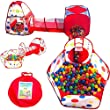Playz 6-Piece Kids Play Tents Crawl Tunnels and Ball Pit Popup Bounce Playhouse Tent with Basketball Hoop for Indoor and Outdoor Use with Red Carrying Case