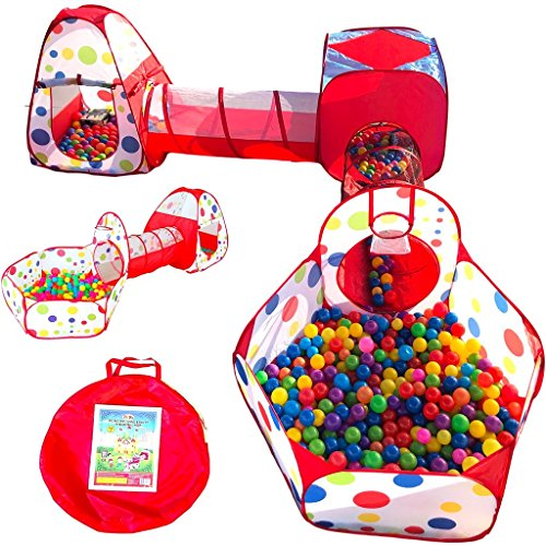 Playz 6-Piece Kids Play Tents Crawl Tunnels and Ball Pit Popup Bounce Playhouse Tent with Basketball Hoop for Indoor and Outdoor Use with Red Carrying - Playhouse Balls Fun