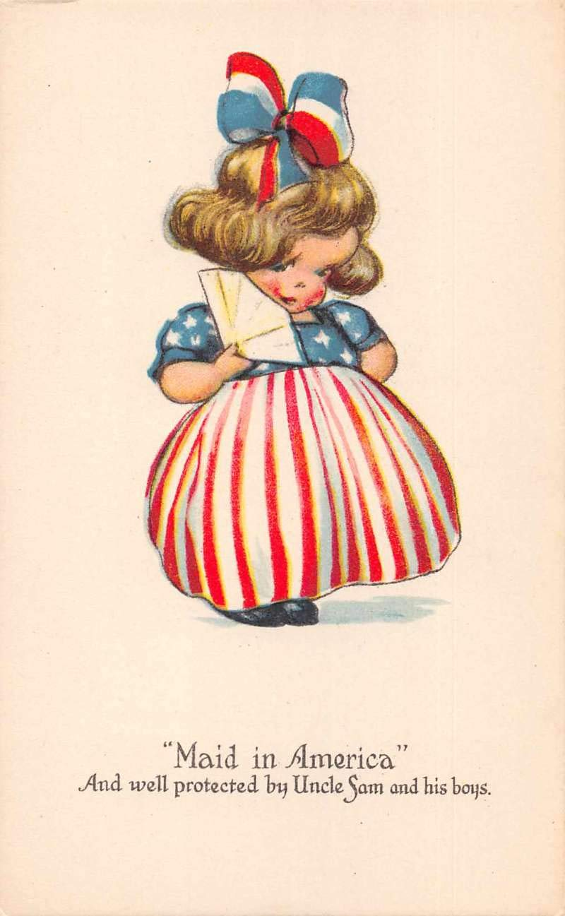 Patriotic Greetings Girl in USA Flag Dress Vintage Postcard JA4741730 at  Amazon's Entertainment Collectibles Store