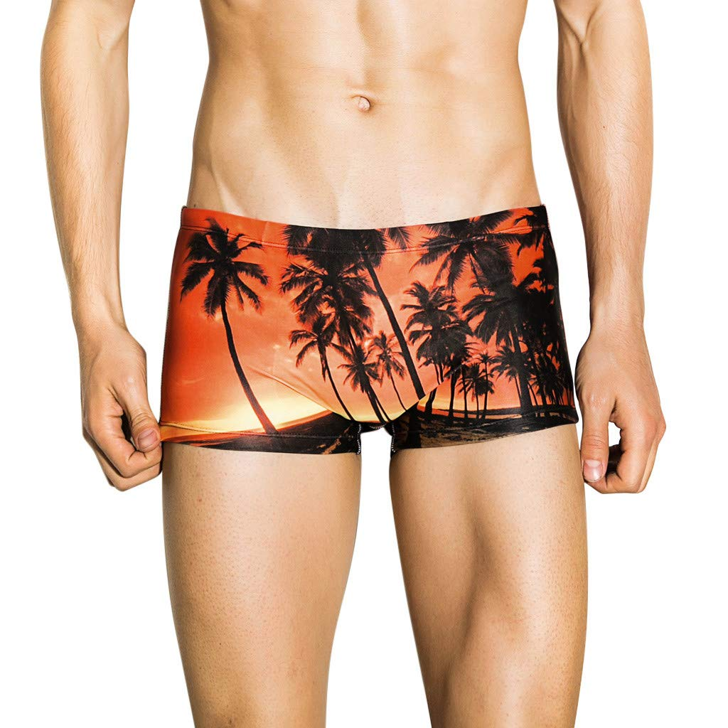 Men Print Trunks, 3D Graphic Underwear Summer Beach Shorts Running Swimming Pants Quick Dry Breathable Beachwear Orange