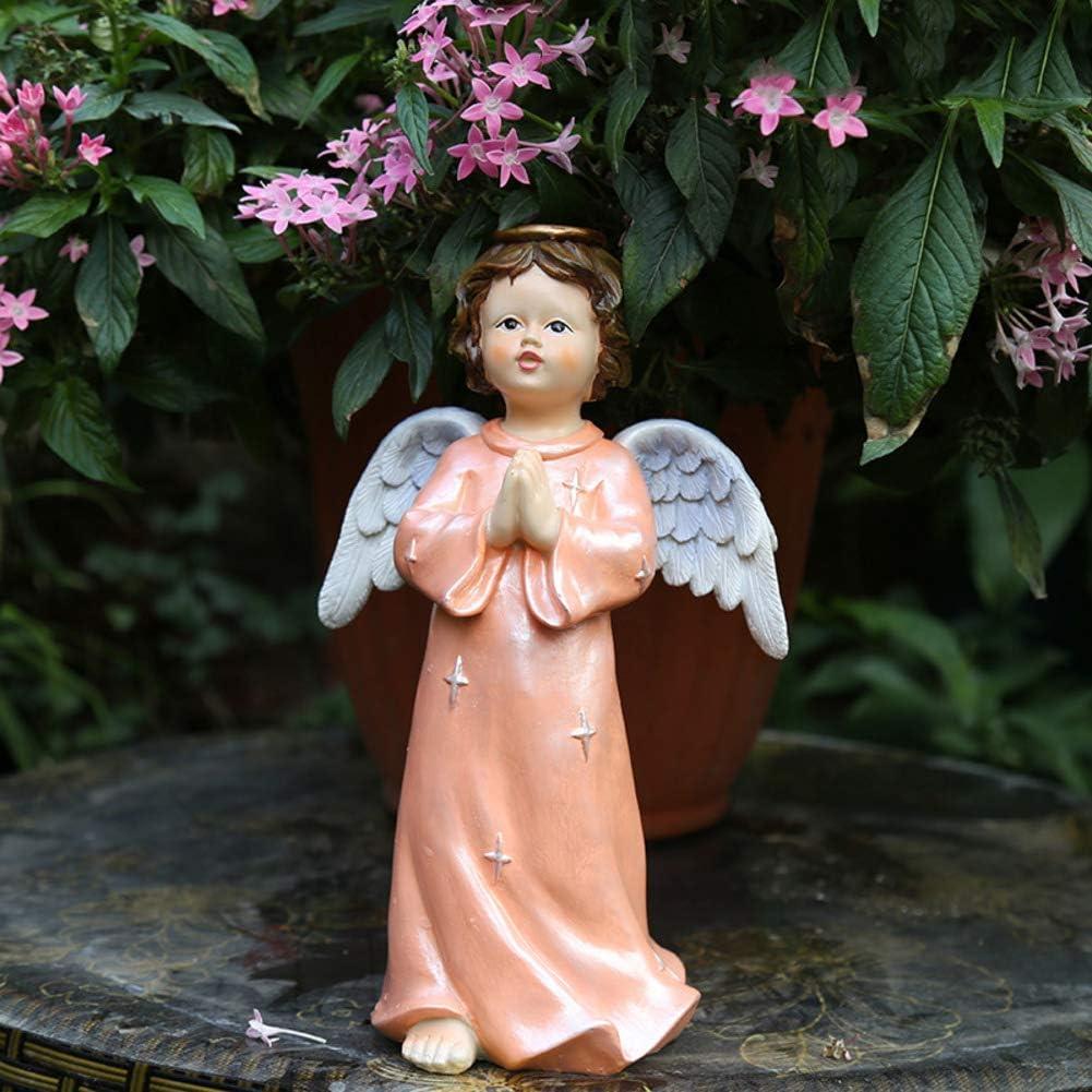 Wghz Resin Angel Statue,Indoor Outdoor Garden Cherubs Figurine Vintage Creative Art Ornaments Arts Crafts Sculpture for Patio Garden Decorations-d 25x25x43cm(10x10x17inch)
