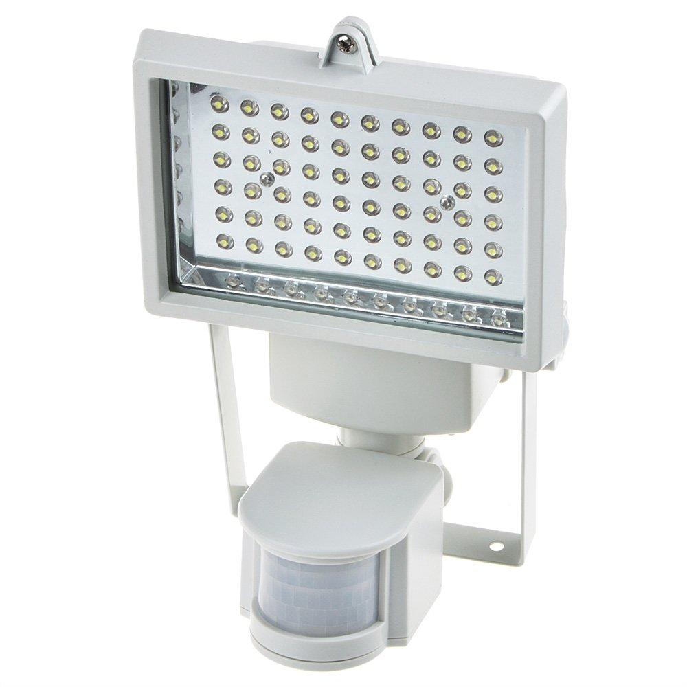 lovecam 60 LEDソーラーモーションセンサーライトモーション距離、壁ライト、セキュリティライト、ソーラー充電式洪水ライト、300ルーメン高出力、防水、15 M 60LED B01NBKRD2N White 1-Pack