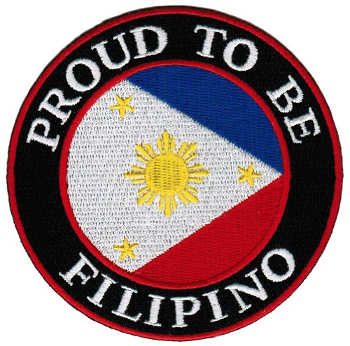 (Proud To Be Filipino Embroidered Patch Philippines Flag Pinoy Iron-On Biker Emblem)
