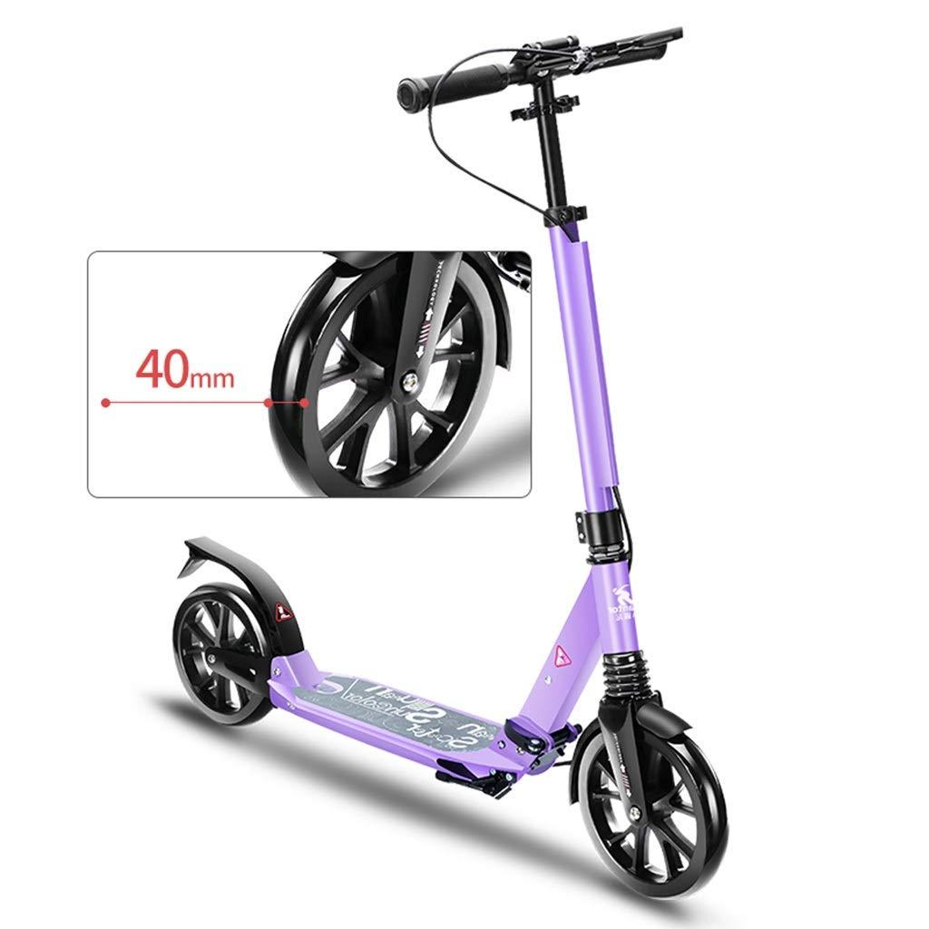キックボード キックスクーター ハンドブレーキと大きな車輪付き折りたたみ式キックスクーター、高さ調節可能、大人の女の子用、10代の少年、100kgをサポート、ブラックグリーンパープル (色 : 緑) B07QMRYVD7 紫の 紫の