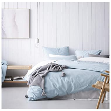Eikei Washed Cotton Chambray Duvet Cover Solid Color Casual Modern Style Bedding Set Relaxed Soft Feel Natural Wrinkled Look (King, Sky Blue)