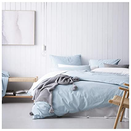 375715561fc3 Amazon.com: Eikei Washed Cotton Chambray Duvet Cover Solid Color Casual  Modern Style Bedding Set Relaxed Soft Feel Natural Wrinkled Look (King, ...