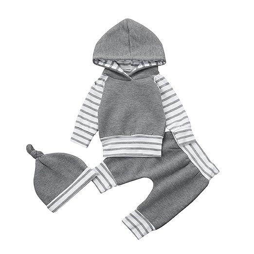 2da05b605 Amazon.com  Kollmert Newborn Baby Boy Girl Striped Hoodie Tops+Pants ...