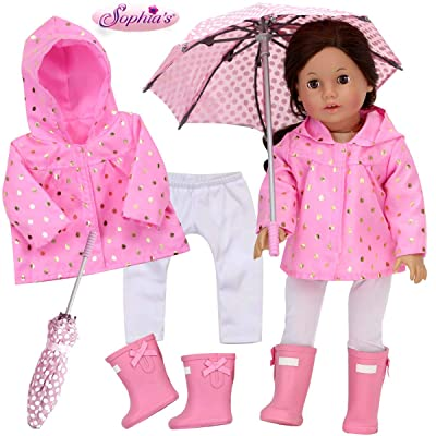 Sophia's Doll Clothes 4 Piece Rain Set with Lightweight Pink Jacket, White Leggings, Pink Rain Boots and Polka Dot Umbrella Sized for 18 Inch Dolls: Toys & Games