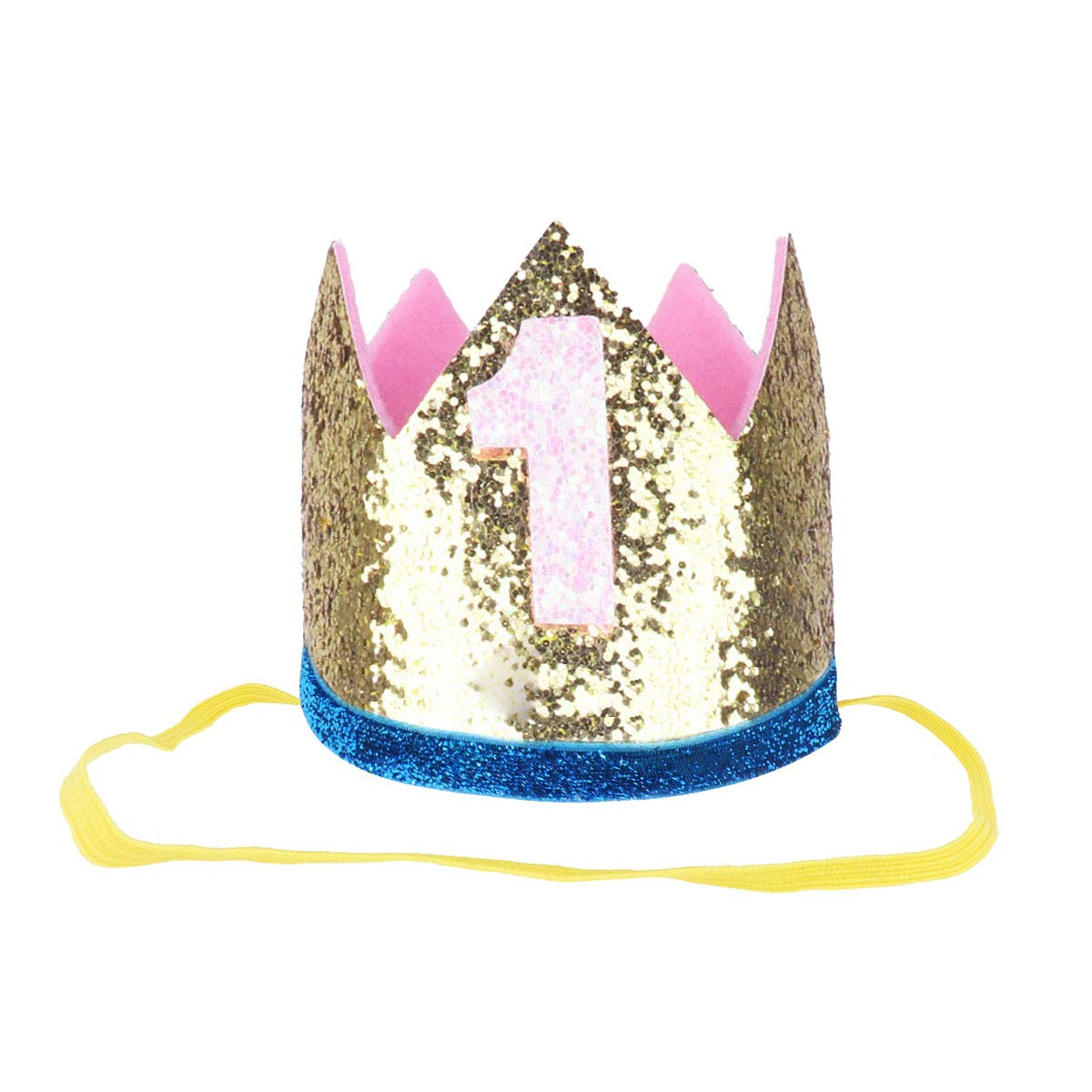 iiniim Baby Girls Boys First /1st Birthday Party Hat Little Prince Crown Headband Head wear Accessories Gold Number 1 One Size by iiniim (Image #1)