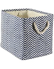 "DII Woven Paper Storage Basket or Bin, Collapsible & Convenient Home Organization Solution for Office, Bedroom, Closet, Toys, Laundry (Small - 11x10x9""), Nautical Blue Chevron"
