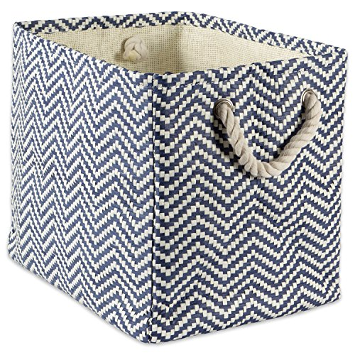 "DII Woven Paper Storage Basket or Bin, Collapsible & Convenient Home Organization Solution for Office, Bedroom, Closet, Toys, Laundry (Large – 17x12x12""), Nautical Blue Chevron by DII"