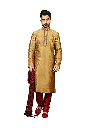 7810792d2c Amazon.com: Da Facioun Indian Designer Wedding Traditonal Partywear Kurta  Pajama for Men in Golden Yellow Dupion Art Silk: Clothing