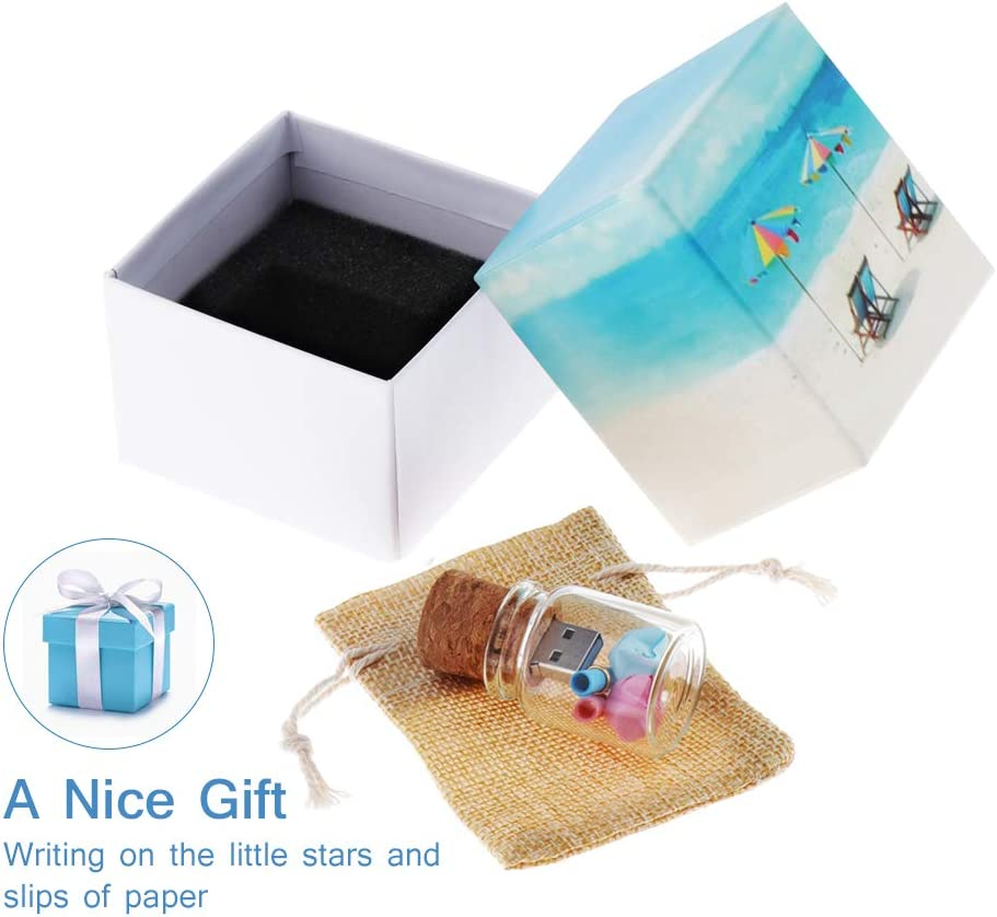 Hsthe Sea 32GB Cute Flash Drive USB 3.0 Storage Jars with Gift Box Glass Jar Bottle and Cork Memory Stick Pen Drive Wedding Gifts Electronics Fancy Pendrive
