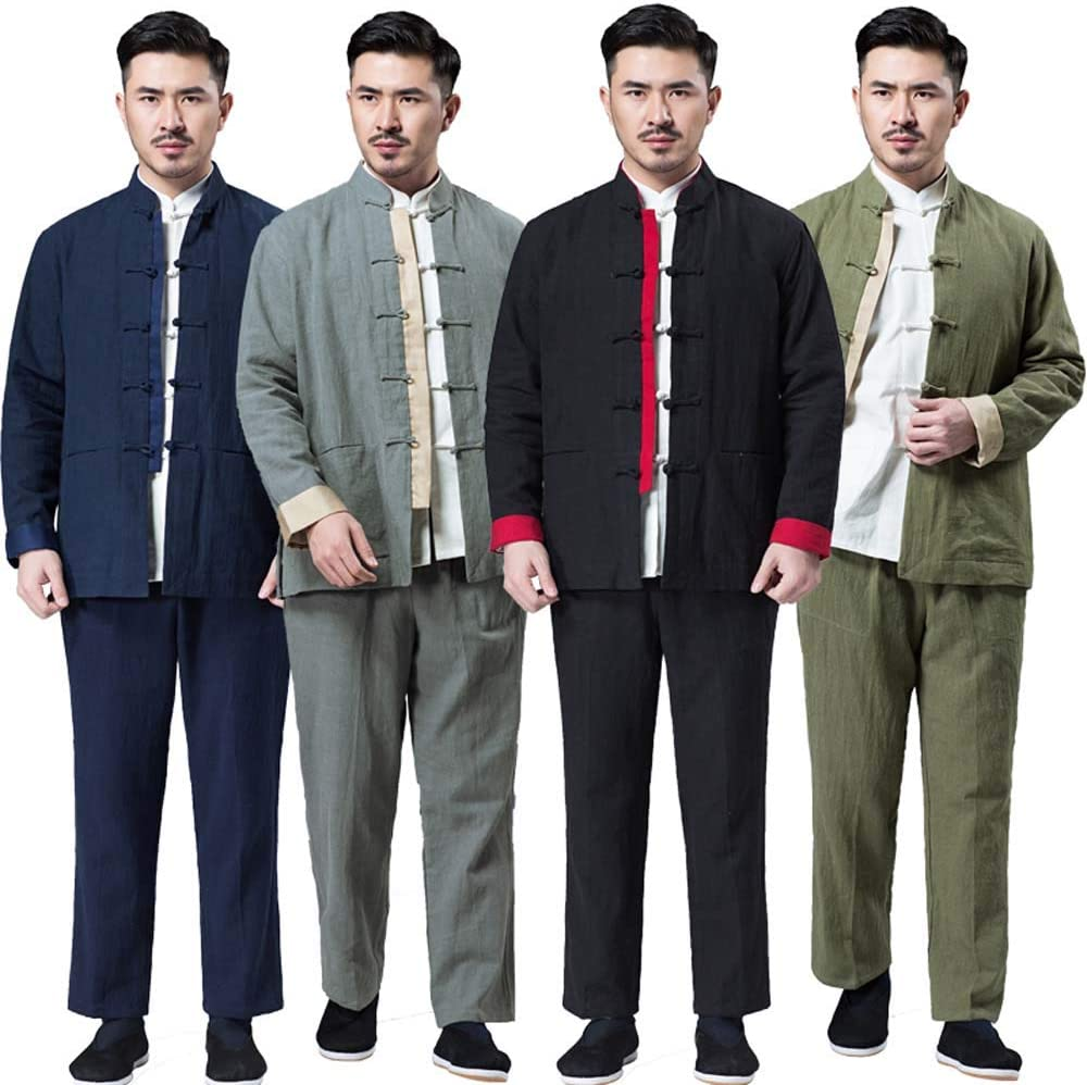 Retro Clothes Suit, Chinese Style Clothes Pants and Shirt Three Piece Suit Men's Tang Suit Fitness Clothes black