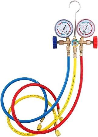 Imagen deKKmoon Refrigerant Manifold Gauge Set Herramientas de aire acondicionado con manguera y gancho para R12 R22 R404A R134A